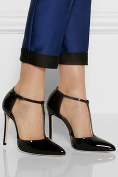 Gucci | Patent-leather T-bar pumps | NET-A-PORTER.COM, creator : Frida Giannini, cited clean lines, glossy patent-leather, razor sharp toe