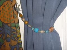 pair of blue and brown curtain tie backs, two eco-friendly OOAK curtain tiebacks Blue And Brown Curtains, Curtain Tie Backs, Tassel Necklace, Eco Friendly, Buy And Sell, Pairs, Poet, Handmade, Stuff To Buy