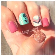 U easy nail art designs for beginners diy cute summer nails for winter nail designs Get Nails, Fancy Nails, Love Nails, How To Do Nails, Hair And Nails, Nail Art Designs, Chevron Nail Designs, Uñas Diy, Tribal Nails