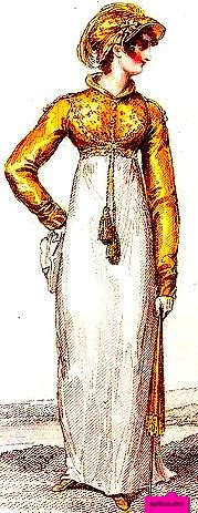 1814  Duchess Of Angouleme Bonnet and Spencer, English. Gold Spencer Over a White Dress.  Fashion Plate via John Belle's La Belle Assemblee. Google Books (PD-180)  suzilove.com