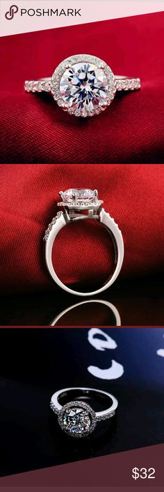 A Beautiful Halo Engagement Ring/Right Hand Ring A ring to be proud of. Use as an engagement ring, right hand ring or a ring because you love it. So beautiful on and even nicer in person.  Non smoking/ pet friendly home Jewelry Rings