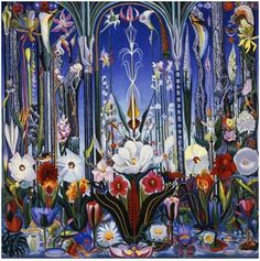 Flowers - Joseph Stella. I had a jigsaw puzzle of this artwork back in the day (and I still do!) Very surreal.