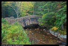 Carriage road bridge crossing stream. Acadia National Park, Maine, USA.