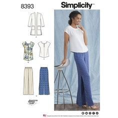 Items similar to Sewing Pattern Loose Fit Pants Pattern, Pullover Tunic Top Pattern, Cardigan Pattern, Wide Leg Pants Pattern, Simplicity Sewing Pattern 8393 on Etsy Plus Size Patterns, Simplicity Sewing Patterns, Blouse Patterns, Clothing Patterns, Smart Casual Tops, Plus Size Summer Fashion, Patron Vintage, Classic Wardrobe, Plus Size Pants