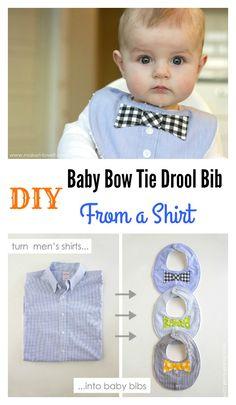 DIY Baby Bow Tie Drool Bib From a Shirt