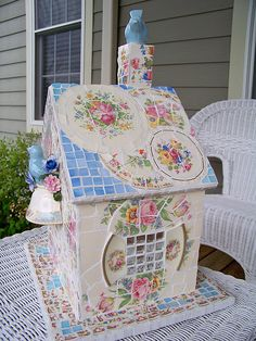 Vintage China Mosaic Birdhouse, not as perty as the one my Sister made for me!