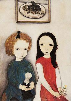 Deux Enfants(1918) byLéonard Tsugouharu Foujita~ 藤田 嗣治