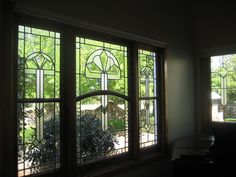 Stained glass windows in the piano room at Tasma House.  www.TasmaHouse.com