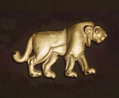 Plaques: Lion (Rightward Direction)        Period: Early Bronze Age Date: Maikopskaya Culture. Mid - late 4th millennium BC  Place of finding: Adygeya Republic (former Kuban Region), the City of Maikop  Archaeological site: Maikop Barrow (Oshad Barrow)        Material: gold  State Hermitage Museum