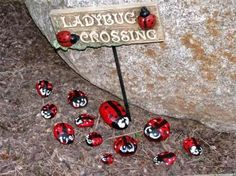 17 Playful painting projects for the garden My Fairy Garden, Gnome Garden, Fairy Gardens, Ladybug Garden, Ladybug Picnic, Garden Deco, Garden Fun, Green Garden, Garden Crafts
