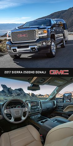 The GMC Sierra 2500 Denail HD is our most powerful Duramax Diesel Ever.  Sierra 2500 Denali HD offers functional hood scoop on Duramax-equipped models to provide cooler airflow and contribute to the increased HP rating of the engine. Sierra Denali HD comes with premium interior along with signature Denali accents and advanced towing technologies giving you the confidence to control heavy loads.
