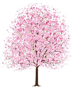 Pink Spring Deco Tree PNG Clipart