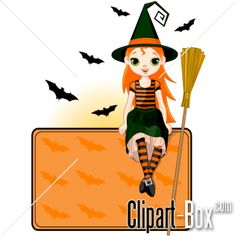 CLIPART HALLOWEEN WITCH SIT ON FRAME