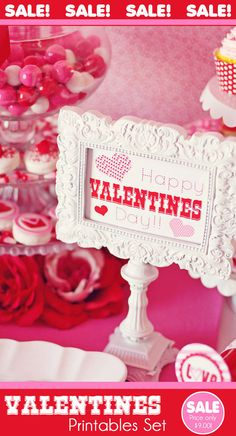 Valentines Party Printables Set by Amanda's Parties TO GO - 60 Percent OFF