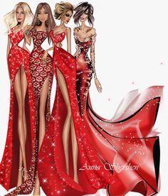 Ladies in red 😍 Fashion Design Drawings, Fashion Sketches, Fashion Illustrations, Fashion Sketchbook, Fashion Figures, Fashion Models, Arte Fashion, Glamour Decor, Fashion Silhouette