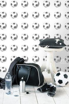 HD vliesbehang voetballen zwart en wit