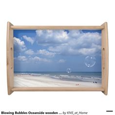 Blowing Bubbles Oceanside wooden serving tray - original photograph.
