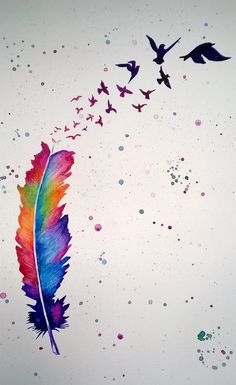 Rainbow feather with birds flying away | August 2014 Samantha Burnett