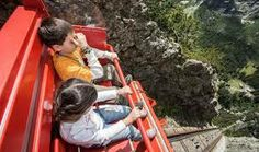 The Gelmerbahn funicular in Switzerland is the steepest in the world. It carries you 6000 ft. above sea level and at a gradient of 106%. HELL NO!!!! The track beneath these kids is almost vertical.