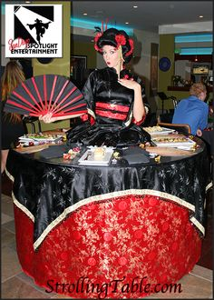 Asian themed strolling table by San Diego Spotlight Entertainment    She speaks Japanese!