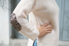 A Pair & A Spare | DIY Sequin Elbow Patch Sweater