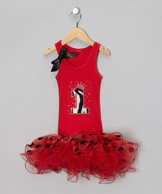Take a look at this Red '1' Polka Dot Tutu Dress - Infant by Bling Diva on #zulily today!