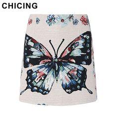 CHICING Mini Skirts Women 2016 Autumn Boho Vintage Folk Ladies Basic Skirt Owl Cat Printed Fashion Saias Femininas A1608039