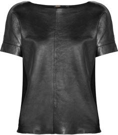 Maje - Suzanno metallic leather and stretch-cotton top Metallic Leather, Leather And Lace, White Leather, Leather T Shirt, Printed Denim, Printed Skirts, Warm Weather Outfits, Maje, Fashion Looks