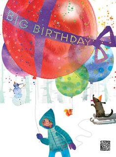 Greeting Cards, Posters, Home Decor, Apparel - Collection - big balloon birthday