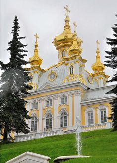 The golden domes of Peterhof Palace ~ Saint Petersburg, Russia