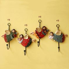 4PCS Angel Hooks Resin Crafts Europe style Resin Coat Hanger Hook Pendant Fat Angel Home Decor Gifts