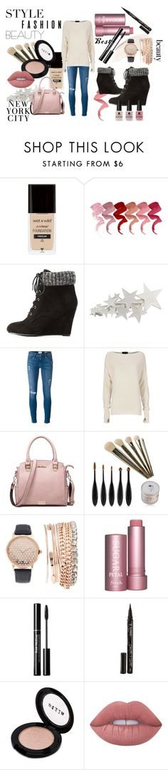 """""""beauty"""" by mmmescher on Polyvore featuring H&M, Charlotte Russe, Frame, Exclusive for Intermix, Jessica Carlyle, Smith & Cult, Stila, Lime Crime and Victoria's Secret"""