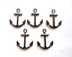 5 Gunmetal Anchor Charms by TreeChild1 on Etsy, $4.25