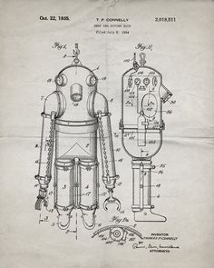 You will love this unique archive print of a 1935 Deep Sea Diving Suit patent, presented as a vintage industrial or steampunk style drawing. It is part of our curated collection of the most unique, no