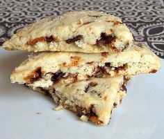 """Chocolate chip-toffee scones from RecipeGirl - Eat Your Books is an indexing website that helps you find & organize your recipes. Click the """"View Complete Recipe"""" link for the original recipe."""