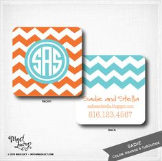 SADIE - personalized Mommy / Business Cards / calling cards / chevron / set of 50. $29.00, via Etsy.