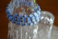 Vintage Blue Frosted Bracelet by KathrynsLegacy on Etsy, $10.00