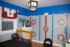 Simply Mish-elle: Kids hockey Rooms(need to do this for my boys in baseball theme) -love the light Boys Hockey Bedroom, Hockey Room, Kids Bedroom, Kids Rooms, Bedroom Stuff, Hockey Girls, Hockey Teams, Ice Hockey, Bedroom Themes