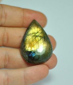 Natural gold flash striped LABRADORITE pear teardrop cab glorious!! GEMSTONE cabochon 41?28?8 mm.