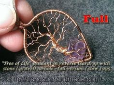 """Tree of Life"" pendant in reverse teardrop with stone ( gravel) no hole ..."