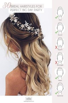 30 Perfect Bridal Hairstyles For Big Day Party ❤ If You still can not choose bridal hairstyle take a look at our collection of best wedding ideas for brides party hairstyles Wedding Hairstyles Best Ideas For 2020 Brides Wedding Hair Half, Hairdo Wedding, Wedding Hairstyles For Long Hair, Headpiece Wedding, Wedding Hair And Makeup, Bride Hairstyles, Headband Hairstyles, Down Hairstyles, Hairstyle Braid