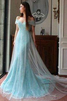 Light Blue Off the Shoulder Long Prom Dress, Cowl Back Sweep Train Lace Prom Dress, Lace Appliques Trumpet Tulle Prom Dress, #020102722