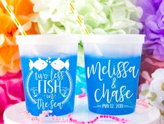 Two Less Fish In The Sea Wedding Cups. Frosted Shatterproof Cups - Custom designed and printed, personalized frosted shatterproof cups help you Celebrate Happy even before your event starts. Wedding Plastic Cups, Wedding Cups, Wedding Decor, Frozen Drinks, Personalized Wedding Favors, Sea Fish, Party Cups, Happy, Printed