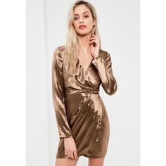 Missguided Satin Long Sleeve Wrap Dress ($27) ❤ liked on Polyvore featuring dresses, bronze, missguided dresses, short wrap dress, mini dress, satin wrap dress and shiny dress