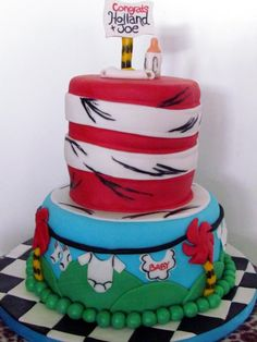 Cat in the Hat Baby Shower Cake - Check out my site www.allthatfrost.com