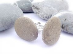 Eco pebble stone cufflinks. Beach wedding by by oceangifts on Etsy