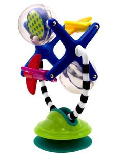Sassy Fascination Station - 2 toys in 1: Suction base for use on highchair or table surface, removable rotating toy for carry along Spinning Ferris Wheel fascinates baby with spinning elements Baby can bat at station to cause action