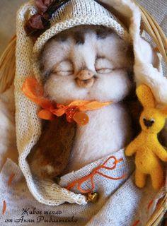 Купить Совенок Сплюшка - коричневый, белый, сова, сова игрушка, сова из шерсти…