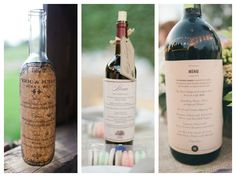 Wedding menu on personalised wine bottles. Photos from Jessica Smith, Michael and Anna Costa, Hitch and Sparrow