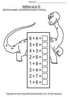 Addition Worksheets for Kindergarten